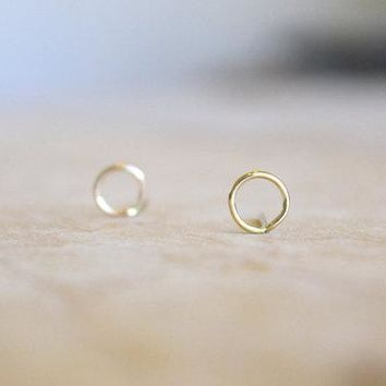 PINJEAS Circle Stud Earrings Sterling  Minimalist Wire Wrapped Round Posts Earrings Small Studs Mother gift birthday