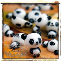 6 PCS X 15mm Panda Cabochon Resin Flatback -Decora Miniature Accessory / Scrapbooking / Nail Art Supplies (AM19W)