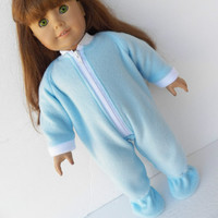 "American Girl 18"" Doll Clothes Light Blue Zip Up Feetie Polar Fleece Pajamas Sleeper Jammies Winter"