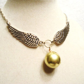 Steampunk Round Brass Locket & Large Silver Wings Necklace