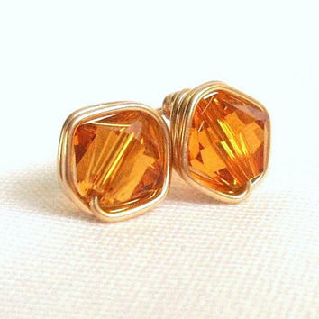 Topaz Gold Filled Stud Earrings, Wire Wrapped Jewelry Handmade, Studded Earrings, Wired Stud Earings, Swarovski Topaz Earings, Gift for Her
