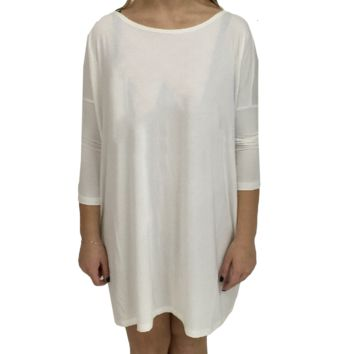 Off White Piko Tunic 3/4 Sleeve Top