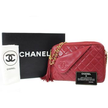 CHANEL Matelasse Chain Shoulder Bag Red Leather Italy Vintage Authentic #D767 W