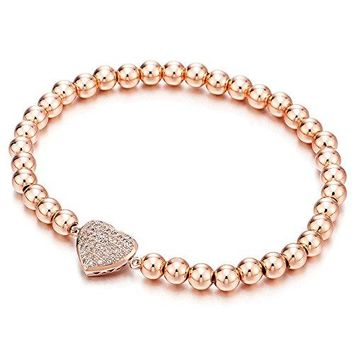 Rose Gold Beads Link Charm Bracelet for Women Girls with Cubic Zirconia Heart Charm Polished