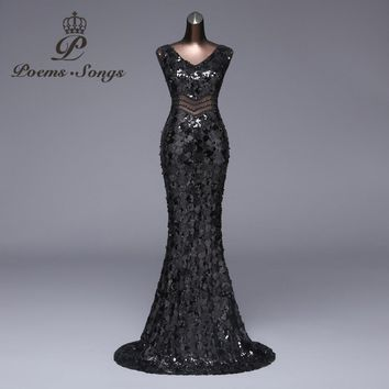 Poems Songs2018 New Sexy waist long Evening Dress Formal Party dress vestido de festa Luxury Black Sequin robe longue prom gowns