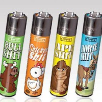 4 CLIPPER LIGHTERS ANIMAL COLLECTION BULL CHICKEN APE HORSE