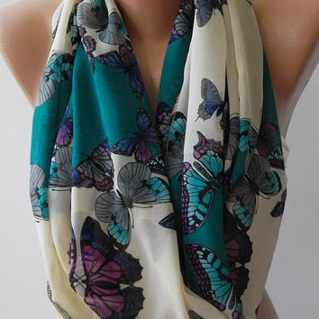 ON SALE  Infinity Scarf Loop Scarf Circle Scarf - It made with good quality chiffon fabric. Butterfly Patterned - Super  Loop