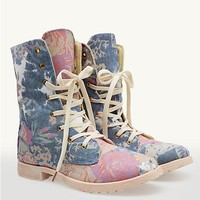 Floral Denim Combat Boot