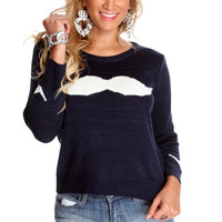 Navy White Mustache Pattern Casual Sweater