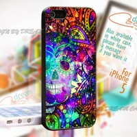 Sugar Skull Pattern with Galaxy - Print On Hard Case iPhone 5 Case