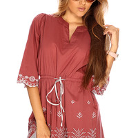 Dark Mauve V Cut Two Tone Embroidered Detailing Cute Summer Dress