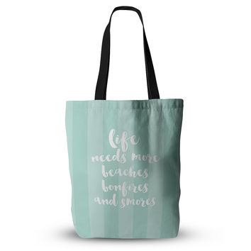 "Sylvia Cook ""Beaches & Bonfires - Mint"" Green Typography Everything Tote Bag"