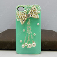 iphone 5 case Pearl bows case butterfly   iphone 4 case iphone 4s case 3D iphone 5 cases