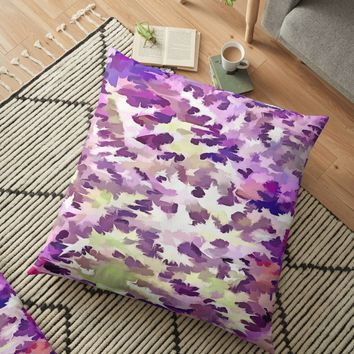 'Foliage Abstract Pop Art In UltraViolet Purple and Lilac' Floor Pillow by taiche