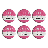 Jean Hello My Name Is Plastic Resin Button Set of 6