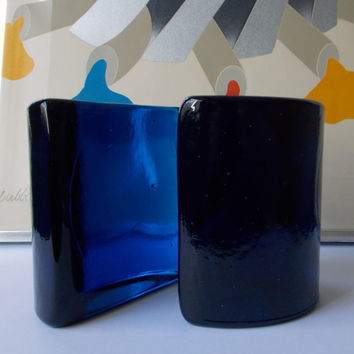 BLENKO Glass Bookends Blue Paperweight Half Moon Mid Century Modern 1970s Pair