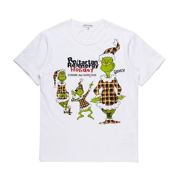 Best Deal Online Men's CDG PLAY COMME DES GARCONS Play  DSM limited edition Fashion White Re-tartan Re-energy Holiday T-Shirt