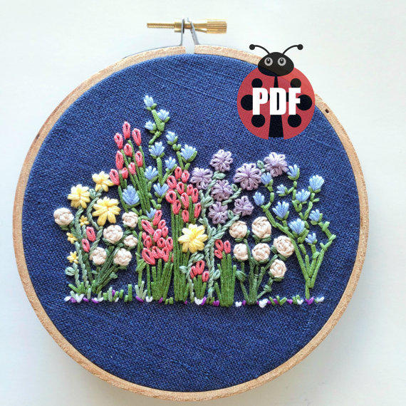 Hand Embroidery Pattern Flower From Knottydickens On Etsy