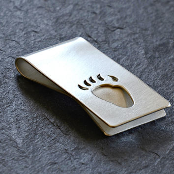 Bear Paw Sterling Silver Money Clip with Custom Paw Design