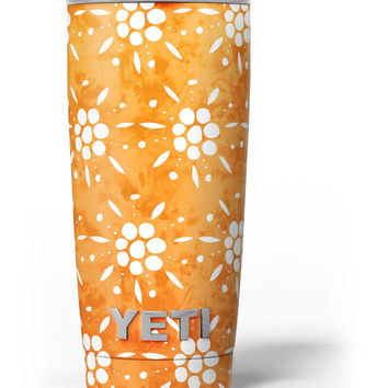 White Pedals Over Watercolored Shades of Orange Yeti Rambler Skin Kit