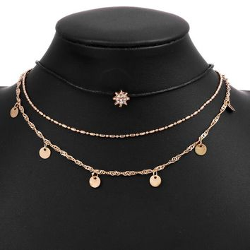 Three-layer fashion simple star pendant necklace
