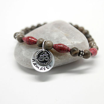 Namaste & Om Charm Bracelet, Yoga Jewelry, Stretch Bracelet, Gray Marble beads, Red Paper Beads, Holistic jewelry