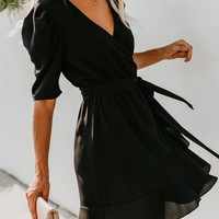 To The Max Wrap Dress - Black