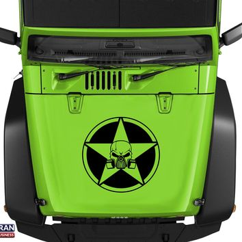 "Oscar Mike Skull Gas Mask Star Hood Vinyl Decal 23"" Fits Jeep Wrangler TJ JK LJ"