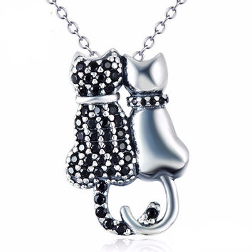 Sterling Silver Couple Cat Necklace