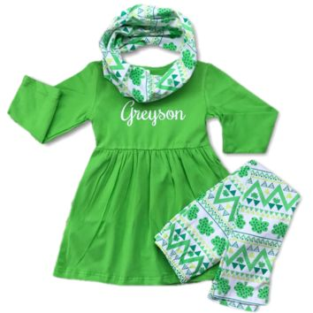 Girl's Shamrock Scarf Set