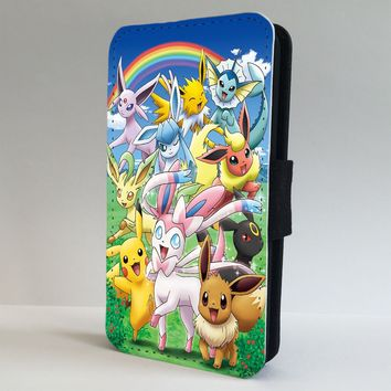 Pokemon Picachu Eevee LEATHER FLIP PHONE CASE COVER fits IPHONE & SAMSUNG