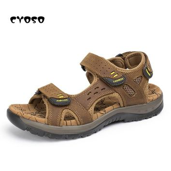 CYOSO Mens Sandals Genuine Leather Men Summer Shoes Casual Big Size Gladiator Sandals for Men Leisure Beach Shoes