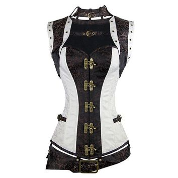 Goth Steampunk Corset Brocade Straitjacket Faux Leather Plus Size S-6XL