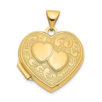 14K Yellow Gold Double Heart Locket
