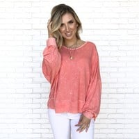 Neon Coral Jersey Long Sleeve Top