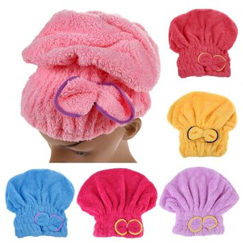 6 Colors Microfiber Solid Quickly Dry Hair Hat Hair Turban Women Girls Ladies Cap Bathing Drying Towel Head Wrap Hat