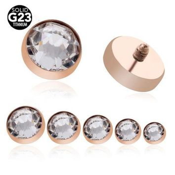 ac PEAPO2Q 1PC G23 Solid Titanium Micro Dermal Anchor Top Dermal Skin Diver Surface Piercings Rose Gold Crystal Hide Top Gauges BodyJewelry