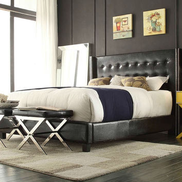 Queen Size Wingback Black Faux Leather Bed with Button Tufted Headboard