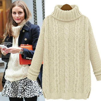 Winter Long Sleeve Knitted Sweater - Oversized