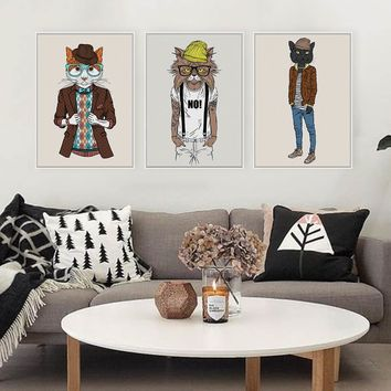 Modern Fashion Hipster Animals Cat kitty Posters Prints Nordic Living Room Wall Art Pictures Home Decor Canvas Painting No Frame