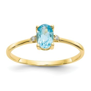 14k or 10k Yellow Gold Diamond & Swiss Blue Topaz Oval December Birthstone Ring