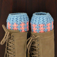 BOOT CUFFS Socks  Leg Warmers Striped Blue and Pink Boot Socks, COLOR Blue and Pink Hand Knit Gift,
