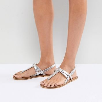ASOS FEELS Leather Flat Sandals at asos.com