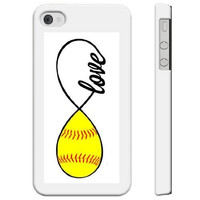 SudysAccessories Softball Love Softball Infinity Love iPhone 4 Case iPhone 4S Case - SoftShell Full Plastic Direct Printed Graphic Case