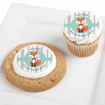 Mr. Foxy Fox - Personalized Birthday Party Edible Cupcake Toppers - 12 ct
