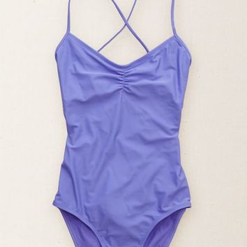 Aerie Women's Cross-back One-piece Swimsuit (Purple Pucker)