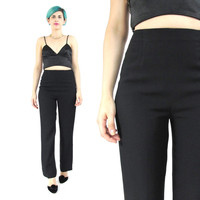 Vintage Black Trousers High Waisted Trousers Minimalist Black Pants Business Professional Preppy Petites Womens Suit Pants (XS)