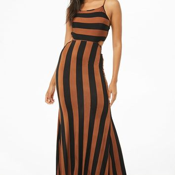 Striped Lace-Up Crisscross Cami Dress