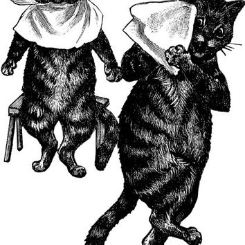 cats wearing bibs clip art PNG Digital art Download kitty image graphics pets animal clipart printable vintage illustrations