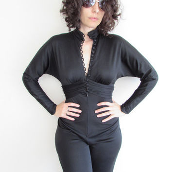 Vintage Black Polyester 60s 70s Button Up Classic Disco Jumpsuit
